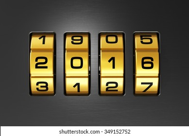 Creative abstract New Year 2016 concept: macro view of combination lock with 2016 code text