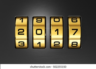 Creative abstract New Year 2017 concept: 3D render illustration of the macro view of combination lock with 2017 code text