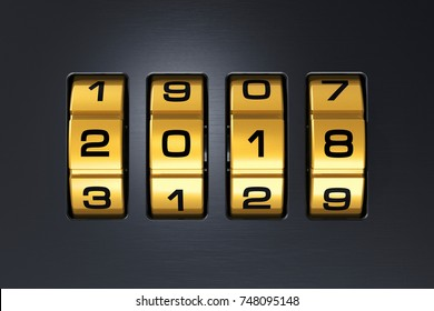 Creative abstract New Year 2018 concept: 3D render illustration of the macro view of combination lock with 2018 code text