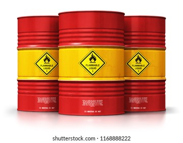 Creative abstract oil and gas industry manufacturing and trading business concept: 3D render illustration of the group of red metal oil drums or petroleum barrels isolated on white background
