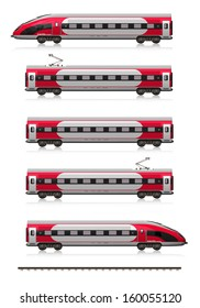 Creative abstract railroad travel and railway tourism transportation industrial concept: modern high speed train set (locomotive, cars and rail fragment) isolated on white background with reflection