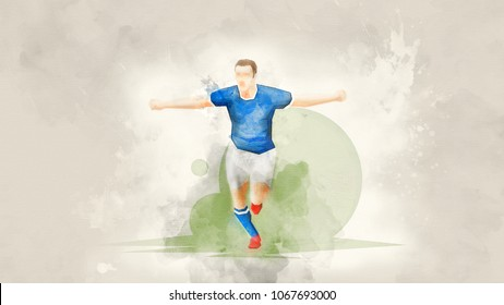 Creative abstract soccer player. Soccer player is happy with a goal scored. Watercolor background. Retro style