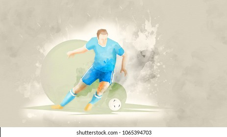 Creative abstract soccer player. Soccer Player Kicking Ball. Watercolor background. Retro style