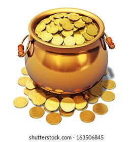 Creative abstract St. Patrick's Day traditional Irish holiday celebration, business banking success and financial wealth concept: pot full of shiny golden coins isolated on white background