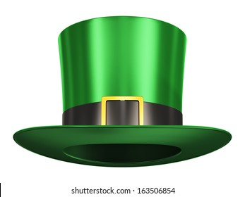 Creative abstract St. Patrick's Day traditional Irish holiday celebration concept: green Leprechaun hat with black ribbon and golden buckle isolated on white background