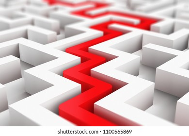 Creative abstract success, perspective vision, marketing, strategy, finding solution and motivation business communication concept: 3D render illustration of red path across endless white labyrinth