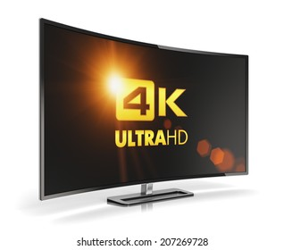Creative abstract ultra high definition digital television screen technology concept: curved 4K UltraHD TV or computer PC monitor display isolated on white background with reflection effect