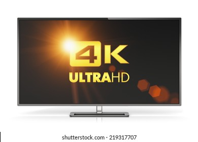 Creative abstract ultra high definition digital television screen technology concept: 4K UltraHD TV or computer PC monitor display isolated on white background with reflection effect