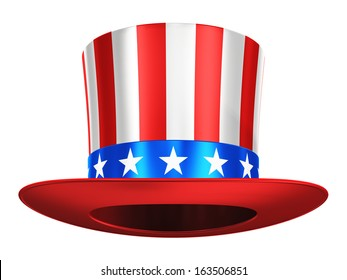 Creative abstract USA traditional symbol and US flag color concept: Uncle Sam hat with red stripes and blue stars isolated on white background