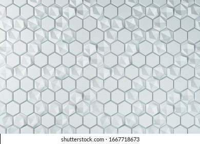Creative abstract white hexagonal background. Design and technology concept. Mock up. 3D Rendering