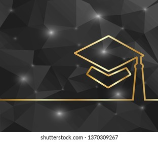 Creative academic cap. Art illustration template background. For presentation, layout, brochure, logo, page, print, banner, poster, cover, booklet, business infographic, wallpaper, sign, flyer.