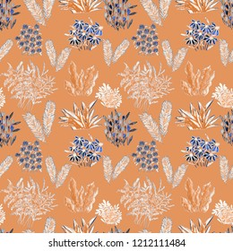 Creative artistic floral background. Hand drawn seamless pattern with wildflowers.