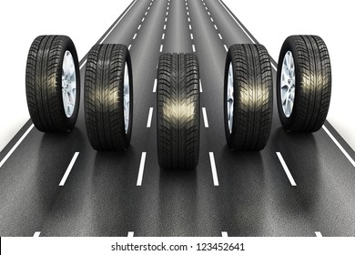 Creative automotive industrial concept: set of black car auto rubber wheels driving the asphalt highway road isolated on white background