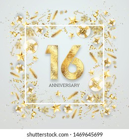 Creative background, 16th anniversary, adulthood. Celebration of golden text and confetti on a light background with numbers. Anniversary celebration template, flyer. 3D illustration, 3D render.