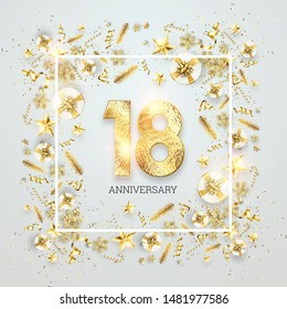 Creative background, 18th anniversary, adulthood. Celebration of golden text and confetti on a light background with numbers, frame. Anniversary celebration template, flyer. 3D illustration, 3D render