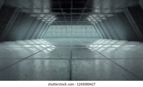 Creative background, Abstract empty room interior with concrete walls, concrete floor and concrete ceiling. 3d rendering, copy space.
