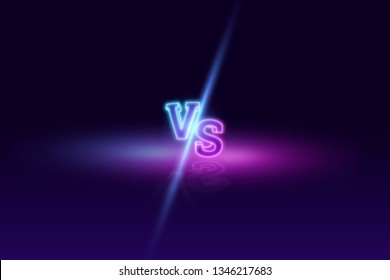 Creative background, Blue neon versus logo, letters for sports and wrestling. game concept, competition, competition, wrestling, sport. 3D rendering, 3D illustration.