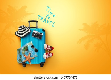 Creative background, blue suitcase, the inscription time to travel, sneakers, map on a yellow background. Concept of travel, tourism, vacation, vacation, dream. 3D illustration, 3D rendering
