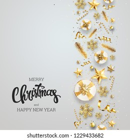 Creative background, Christmas Decorative Border made of Festive Elements on a light background. With Calligraphy Seasons Wishes. Happy New Year 2019, copy space. Colorful design.