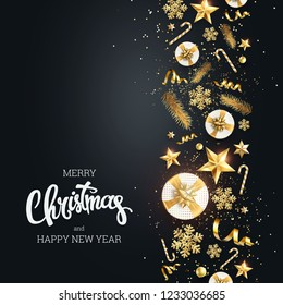 Creative background, Classy 2019 Happy New Year background. Golden design for Christmas and New Year 2019 greeting cards. New Year Flyer, greeting card, festive background, copy space.