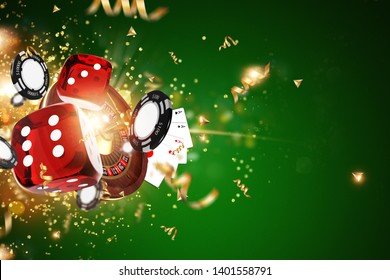 Creative background, gaming dice, cards, casino chips on a green background. The concept of gambling, casino, winnings, Vegas Games Background. 3D render, 3D illustration.