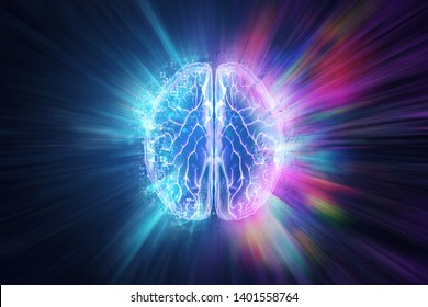 Creative background, the human brain on a blue background, the hemisphere is responsible for logic, and responsible for creativity. of different hemispheres of the brain, 3D illustration, 3D render