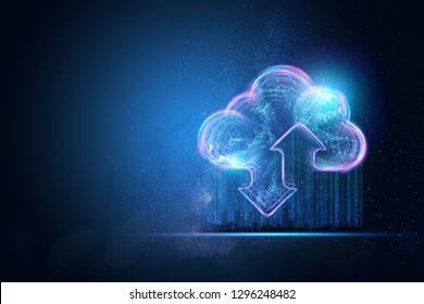 Creative background, the image of the hologram of the cloud, blue background. The concept of cloud technology, cloud storage, a new generation of networks. Mixed media.