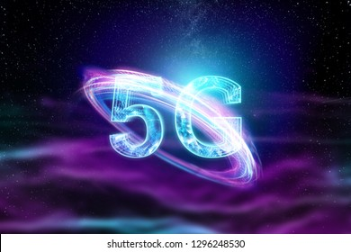 Creative background, the inscription 5G on the background of purple and blue energy, dark background. The concept of 5G network, high-speed mobile Internet, new generation networks. Copy space