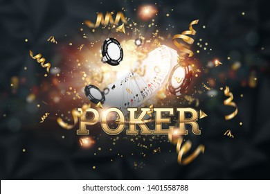 Creative background, the inscription poker, cards, casino chips on a dark background. The concept of gambling, casino, winnings, Vegas Games Background. 3D render, 3D illustration.