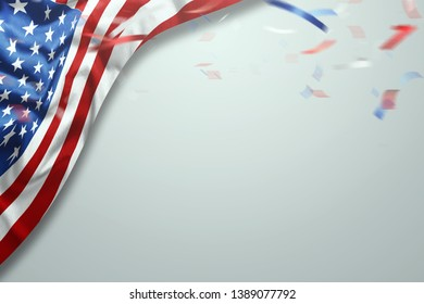 Creative background, light background, usa independence day, american flag. Independence Day Banner USA, postcard, democracy