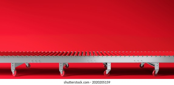 Creative background for product presentation. Red roller conveyor on red background. 3d render illustration. Clipping path of each element included.