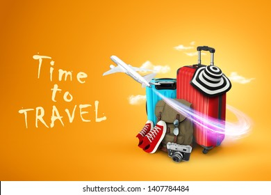 Creative background, red suitcase, the inscription time to travel, sneakers, plane on a yellow background. Concept of travel, tourism, vacation, vacation, dream. 3D illustration, 3D rendering