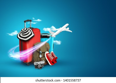 Creative background, red suitcase, sneakers, plane on a blue background. Concept of travel, tourism, vacation, vacation, dream. Copy space. 3D illustration, 3D rendering