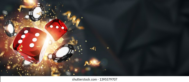 Creative background, roulette, gaming dice, cards, casino chips on a dark background. The concept of gambling, casino, winnings, Vegas Games Background. 3D render, 3D illustration.