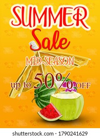 Creative banner with text, summer. Fresh coconut, flowers, coconut leaf and slice of watermelon.  Summer shopping poster or label.