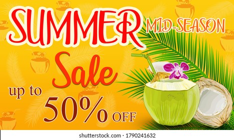 Creative banner with text, summer. Fresh coconut, flowers and leaf.  Summer shopping poster or label.