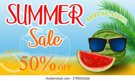 Creative banner with text, summer on the beach, Fresh coconut, flowers and slice of watermelon.  Summer shopping poster or label.