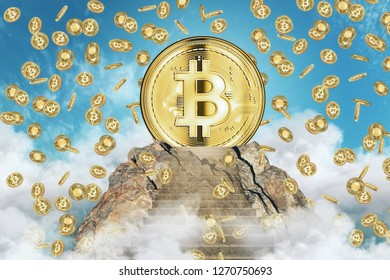 Creative bitcoin rain on sky background. Cryptocurrency and finance concept. 3D Rendering