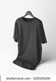 Creative black t-shirt Mockup with hanger on white background. 3D rendering