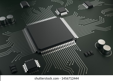 Creative blank circuit chip on dark background. Hardware and engineering concept. Mock up, 3D Rendering
