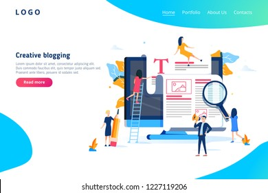 Creative Blogging illustration concept, group of people learning about creative blogging and copywriting can use for, landing page template, ui web, mobile app poster or banner flyer.