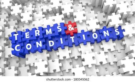 Creative blue 3D pieces of puzzle and words TERMS & CONDITIONS