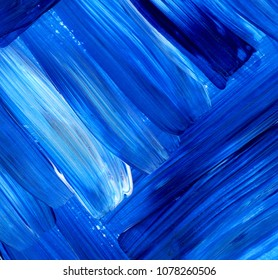 Creative blue abstract hand painted background, wallpaper, texture, close-up fragment of acrylic painting on canvas with brush strokes. Modern art. Contemporary art.