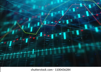 Creative blue forex background. Technology, future, forecasting, trade and investment concept. 3D Rendering