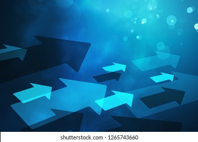 Creative blurry blue bokeh background with arrows. Growth concept. Design concept