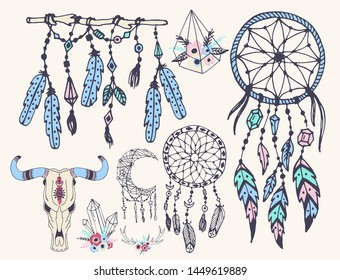 Creative boho style frames mady ethnic feathers arrows and floral elements illustration.
