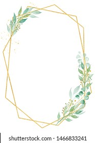 Creative botanical oval frame watercolor raster illustration. Decorative thin border with copyspace. Floral invitation, greeting card watercolour design element. Polygonal ellipse with foliage