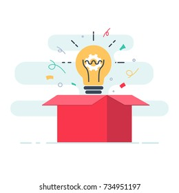 Creative box. Think Outside the Box, Imagination, Creativity and Brainstorm concept. Cute cartoon box and light bulb inside. Flat line illustration for web and mobile design.