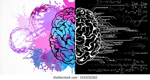 Creative brain drawing with mathematical formulas and paint splatter. Art and mind concept. 3D Rendering