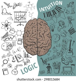 Creative brain Idea. Left and right brain functions,Human brain concept